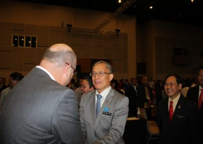 Claude Courtois being introduced to the Dr Pang Chau Leong, the Minister of Human Resource, Malaysia