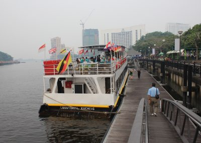 Getting ready to attend a sunset cruise on the famous Sarawak River