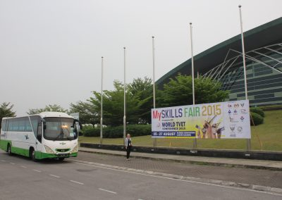 Kim Dry-Courtois in front of the Borneo Convention Centre, where the conference took place