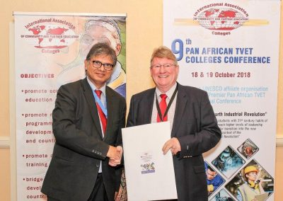 Pan African TVET Conference_2018_ (Farouk Hossain, the conference MC and conference convener Chris Brink)